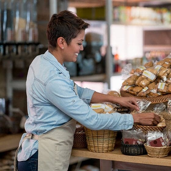 A woman working in a bakery